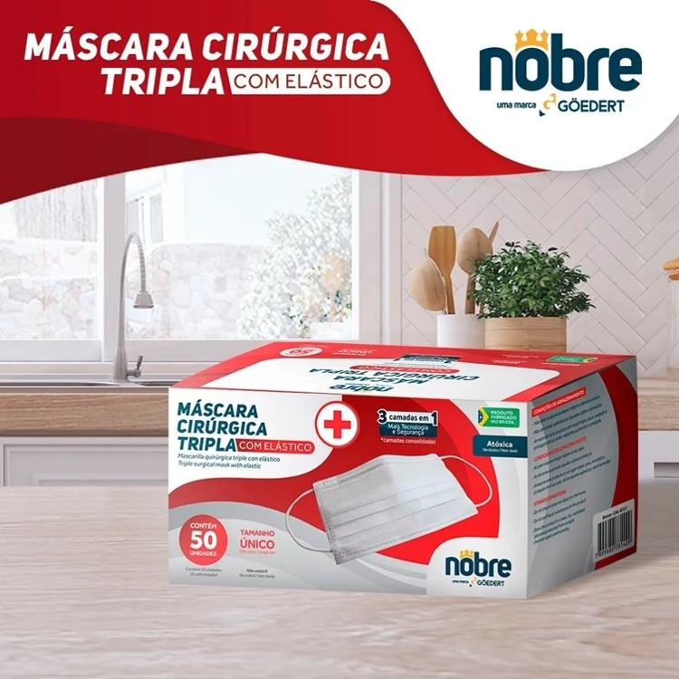 Máscara Cirúrgica Tripla Proteção - TNT-Nobre cx c/50unds