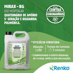 Mirax BG 5L 1:200 - Desinfetante Hospitalar Concentrado com Quaternário de Amônio de 5º Geração e a Base de Biguanida