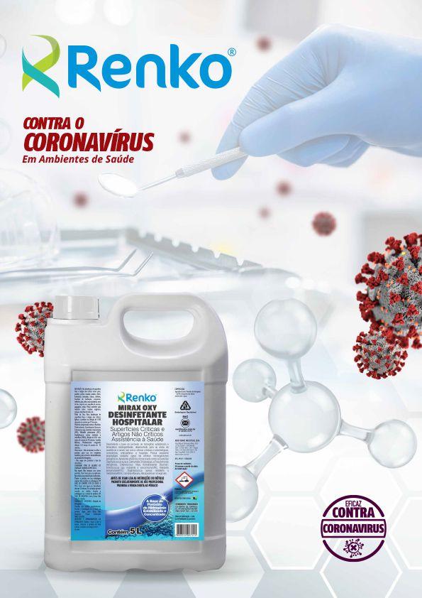 Mirax OXY 5 Litros 1:100 - Desinfetante Hospitalar Concentrado à Base de Peróxido de Hidrogênio