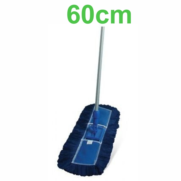 Mop Pó Azul Acrílico Completo 60cm (Refil + Suporte + Cabo)