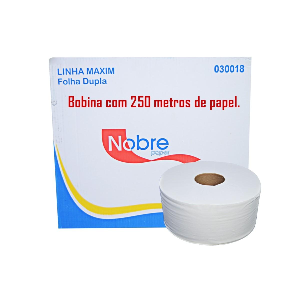 Papel Higiênico Rolão Institucional Nobre Maxim Folha Dupla 250m com 8 Bobinas
