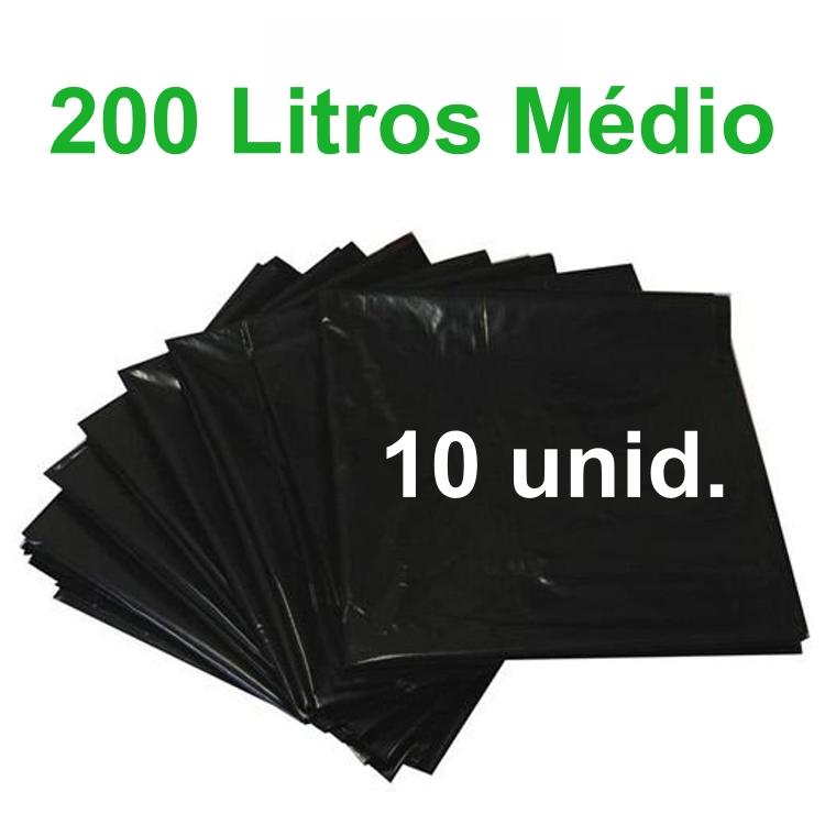 Saco de Lixo Preto 200 litros 10 unidades Tipo Médio