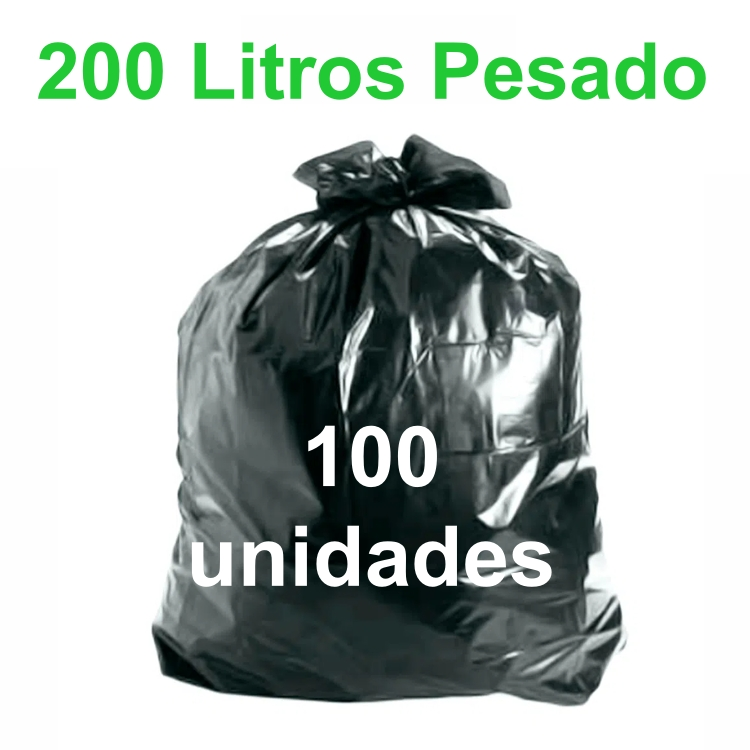 Saco de Lixo Preto 200 litros 100 unidades Tipo Pesado Reforçado