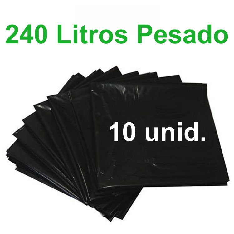Saco de Lixo Preto 240 litros 10 unidades Tipo Pesado Reforçado