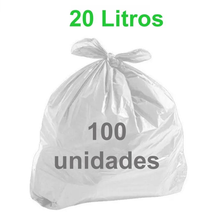 Saco de Lixo Branco 20 litros 100 unidades Tipo Leve