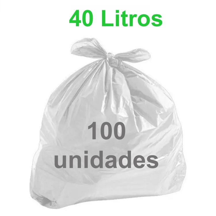Saco de Lixo Branco 40 litros 100 unidades Tipo Leve