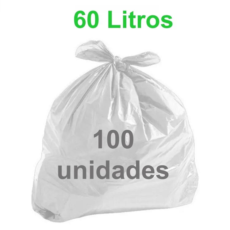 Saco de Lixo Branco 60 litros 100 unidades Tipo Leve