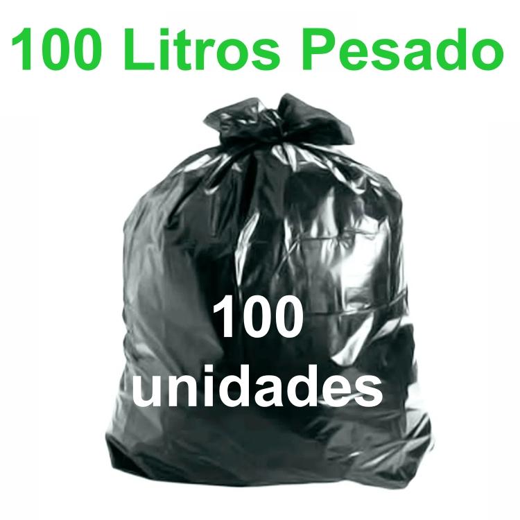 Saco de Lixo Preto 100 litros 100 unidades Tipo Pesado Reforçado