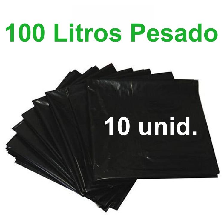 Saco de Lixo Preto 100 litros 10 unidades Tipo Pesado Reforçado