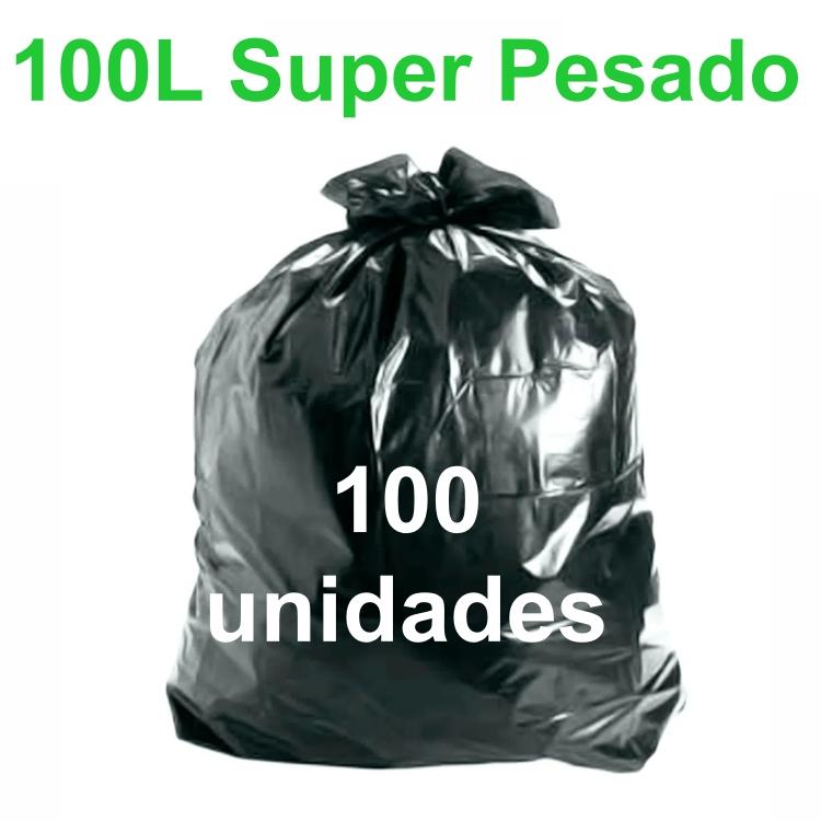 Saco de Lixo Preto 100 litros 100 unidades Tipo Super Pesado Reforçado