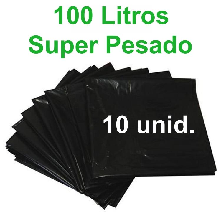 Saco de Lixo Preto 100 litros 10 unidades Tipo Super Pesado Reforçado