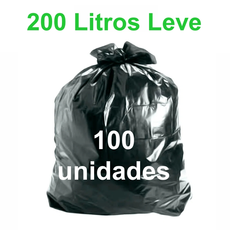 Saco de Lixo Preto 200 litros 100 unidades Tipo Leve