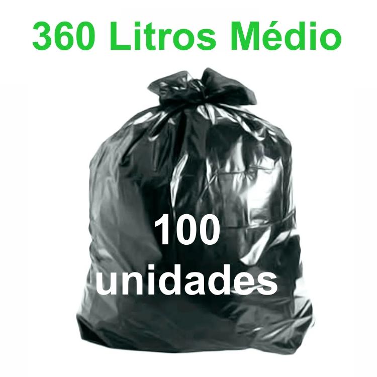 Saco de Lixo Preto 360 litros 100 unidades Tipo Médio