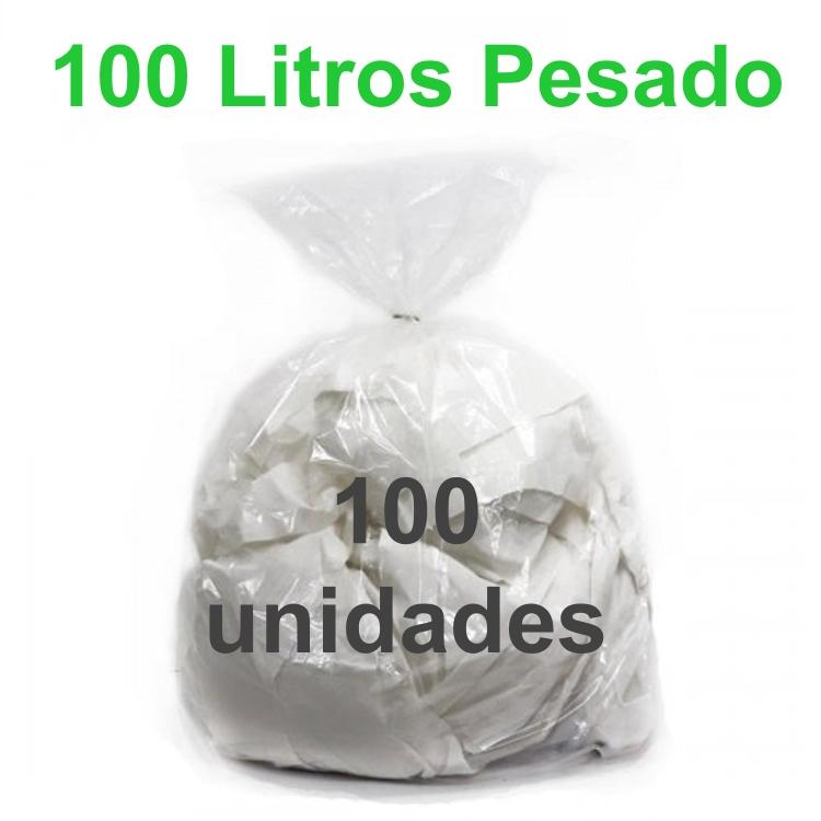 Saco de Lixo Transparente 100 litros 100 unidades Tipo Pesado Reforçado