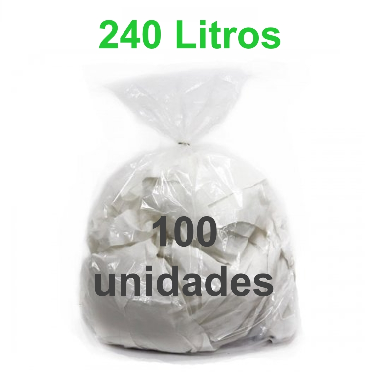 Saco de Lixo Transparente 240 litros 100 unidades Tipo Pesado Reforçado