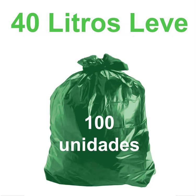 Saco de Lixo Verde 40 litros 100 unidades Tipo Leve