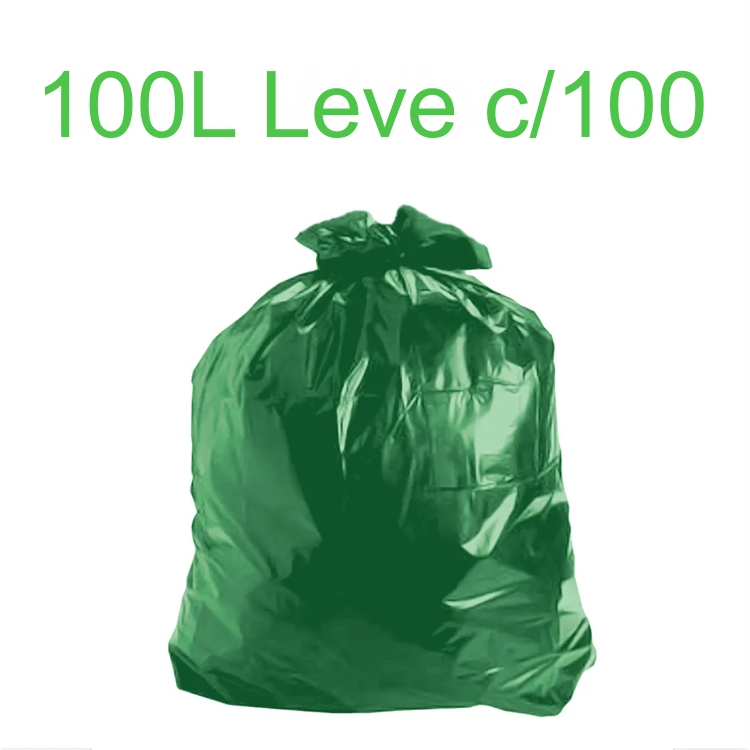 Saco de Lixo Verde 100 litros 100 unidades Tipo Leve