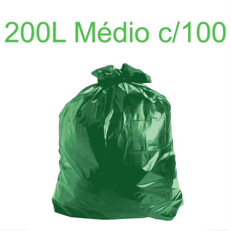Saco de Lixo Verde 200 litros 100 unidades Tipo Médio