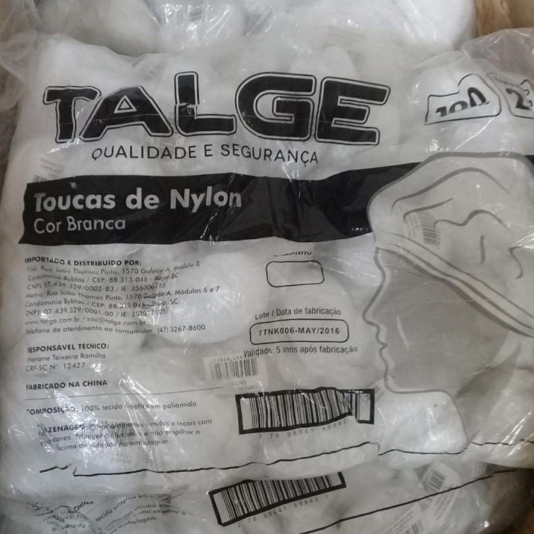 "Touca Nylon Rede Branca Talge- 21"" com 100 unds"