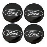 Jogo Emblema Adesivo Calota Ford Preto Resinado 48mm