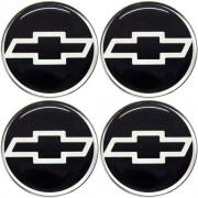 Jogo Emblema Adesivo Calota Gm Preto / Cromado Resinado 48mm