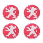 Jogo Emblema Adesivo Calota Peugeot Vermelho Resinado 48mm