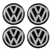 Jogo Emblema Adesivo Calota Volkswagen Preto Resinado 58mm