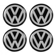 Jogo Emblema Adesivo Calota Volkswagen Preto Resinado 90mm