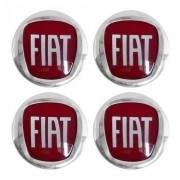 Jogo Emblema Adesivos Calota Fiat Vermelho Liso 48mm