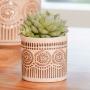 Cachepot de Cerâmica Artesanal Areia c/ Dourado Syb 08x07cm