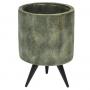 Cachepot de Cimento Artesanal Grafite c/ Ouro Imre 14x20cm