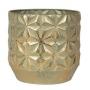 Cachepot de Metal Artesanal Dourado Linske 13x13cm