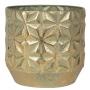 Cachepot de Metal Artesanal Dourado Linske 28x27cm