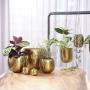 Cachepot de Metal Artesanal Ouro Indiano Kody 23x19cm
