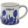 Caneca Tulipas de Cerâmica Azul Holandesa 250ml