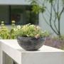 Jardineira de Pedra Artificial Cinza Liso Naomi 100x35x30cm