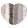 Pendente Coração de Madeira Artesanal Cinza Roots Calm 36x30cm