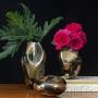 Vaso de Cristal Murano Roca Ouro Fume 24k 13x11x19cm