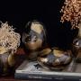 Vaso de Cristal Murano Oval Ouro Fume 24k 10x17cm