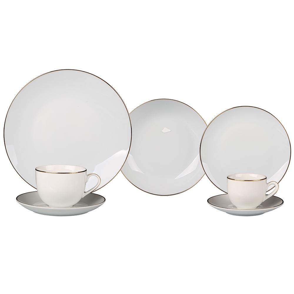 Aparelho de Jantar Porcelana Branca c/ Dourado Jogo c/42Pçs