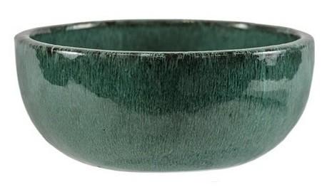 Bacia artesanal em cerâmica (Bina) -  28cm x 15cm Cor: Verde