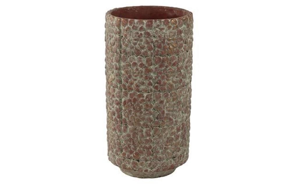 Cachepot de Cimento Artesanal Terra Red Bloom 14x27cm