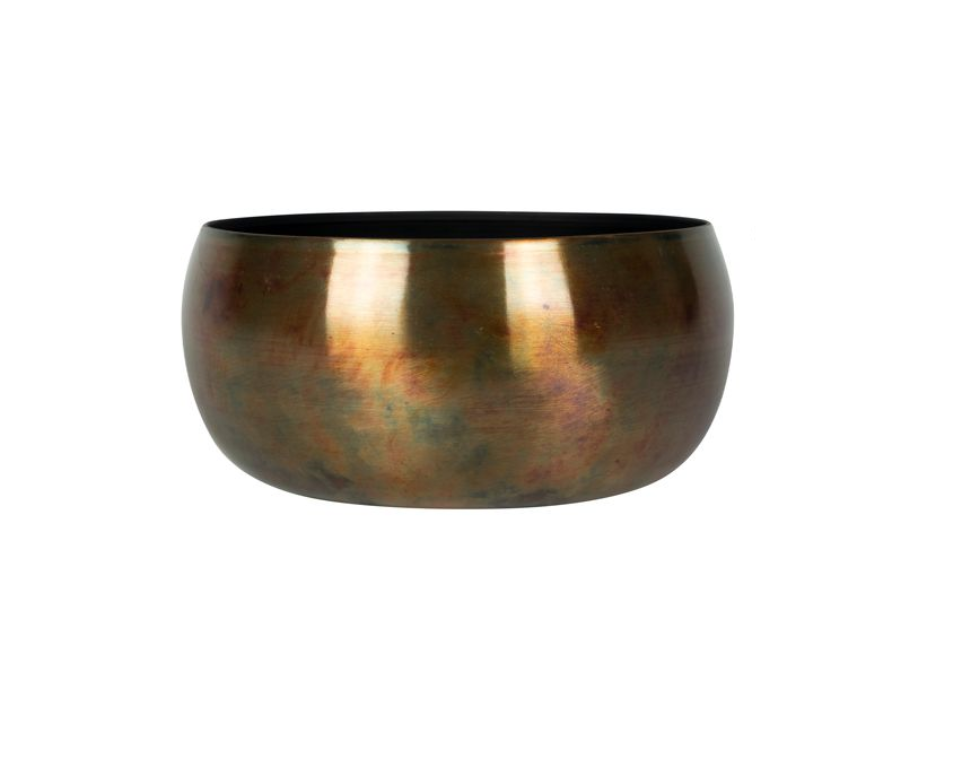 Bacia de Metal Artesanal Cobre Indiano Kody Sky Burn 24x11cm
