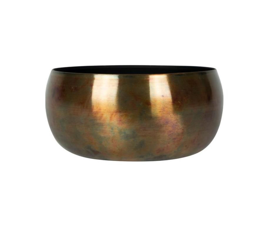 Bacia de Metal Artesanal Cobre Indiano Kody Sky Burn 28x13cm