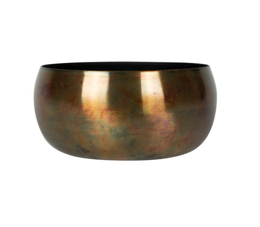 Bacia de Metal Artesanal Cobre Indiano Kody Sky Burn 34x15cm
