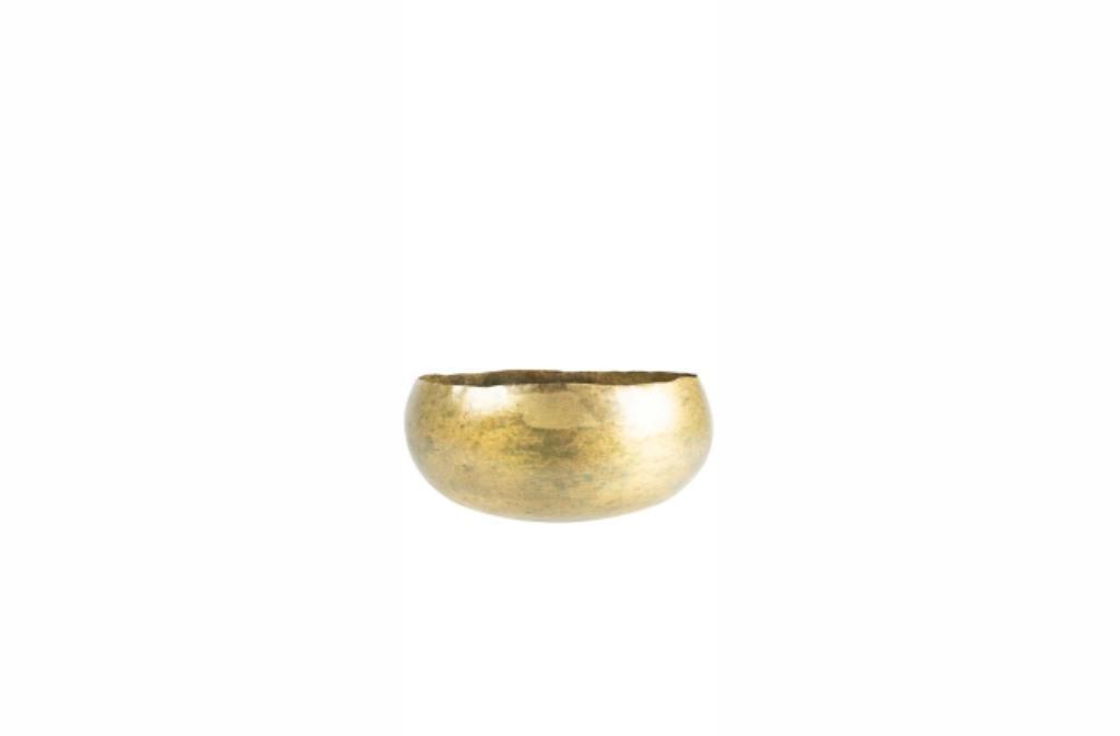 Bacia de Metal Artesanal Dourada Indiana Ellen 24x11cm