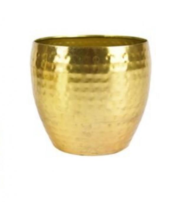 Cachepot de Metal Artesanal Ouro Indiano Kody 15x12cm