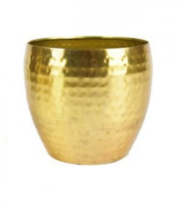 Cachepot de Metal Artesanal Ouro Indiano Kody 17x15cm