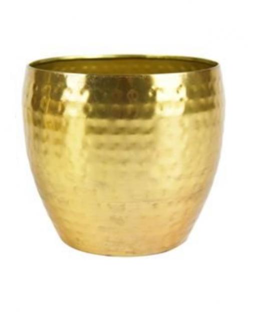 Cachepot de Metal Artesanal Ouro Indiano Kody 21x16cm