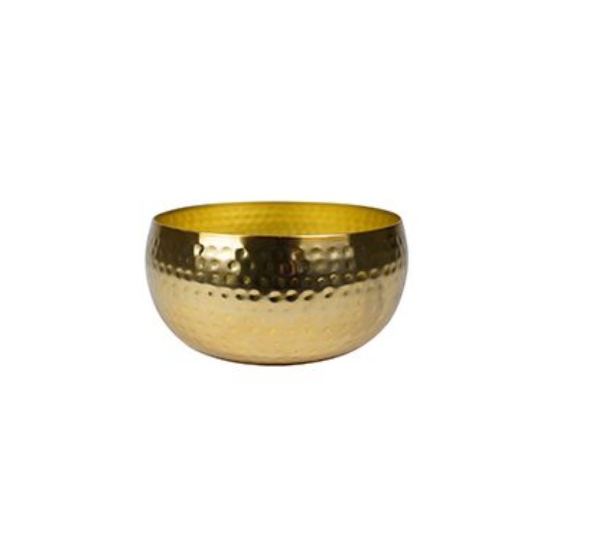Bacia de Metal Artesanal Ouro Indiano Kody 24x11cm